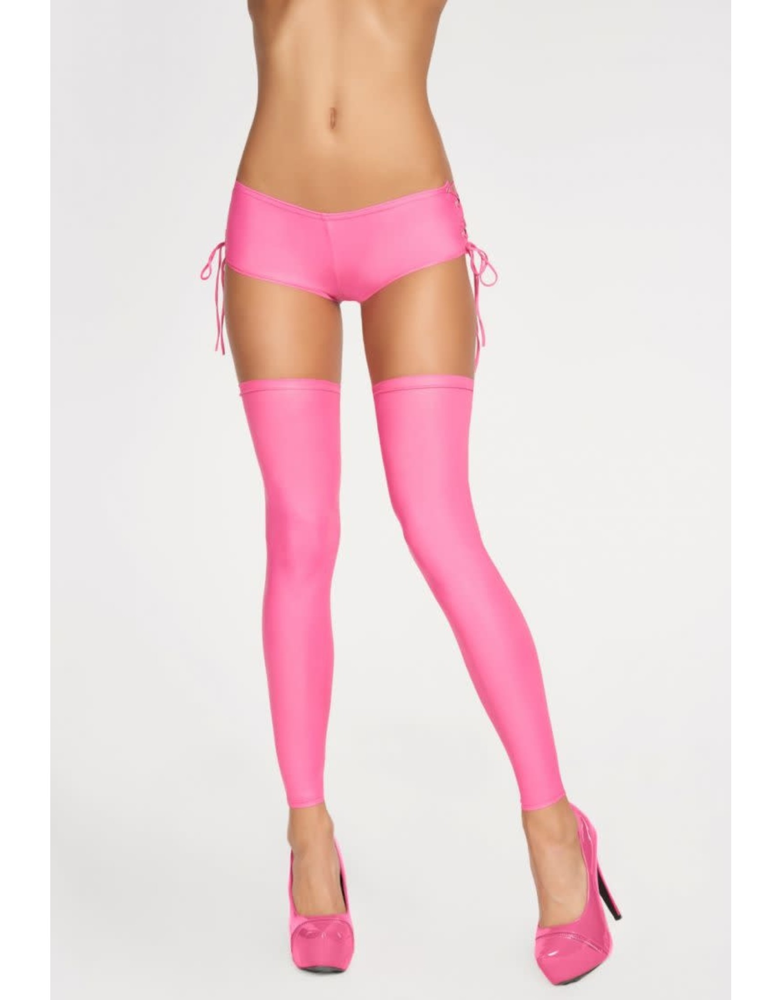 7 HEAVEN 7 HEAVEN - SEXY STOCKINGS WITH LACING AT THE BACK - PINK -  SMALL/MEDIUM