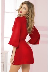 SATIN AND EYELASH LACE ROBE - CARDINAL RED - ONE SIZE