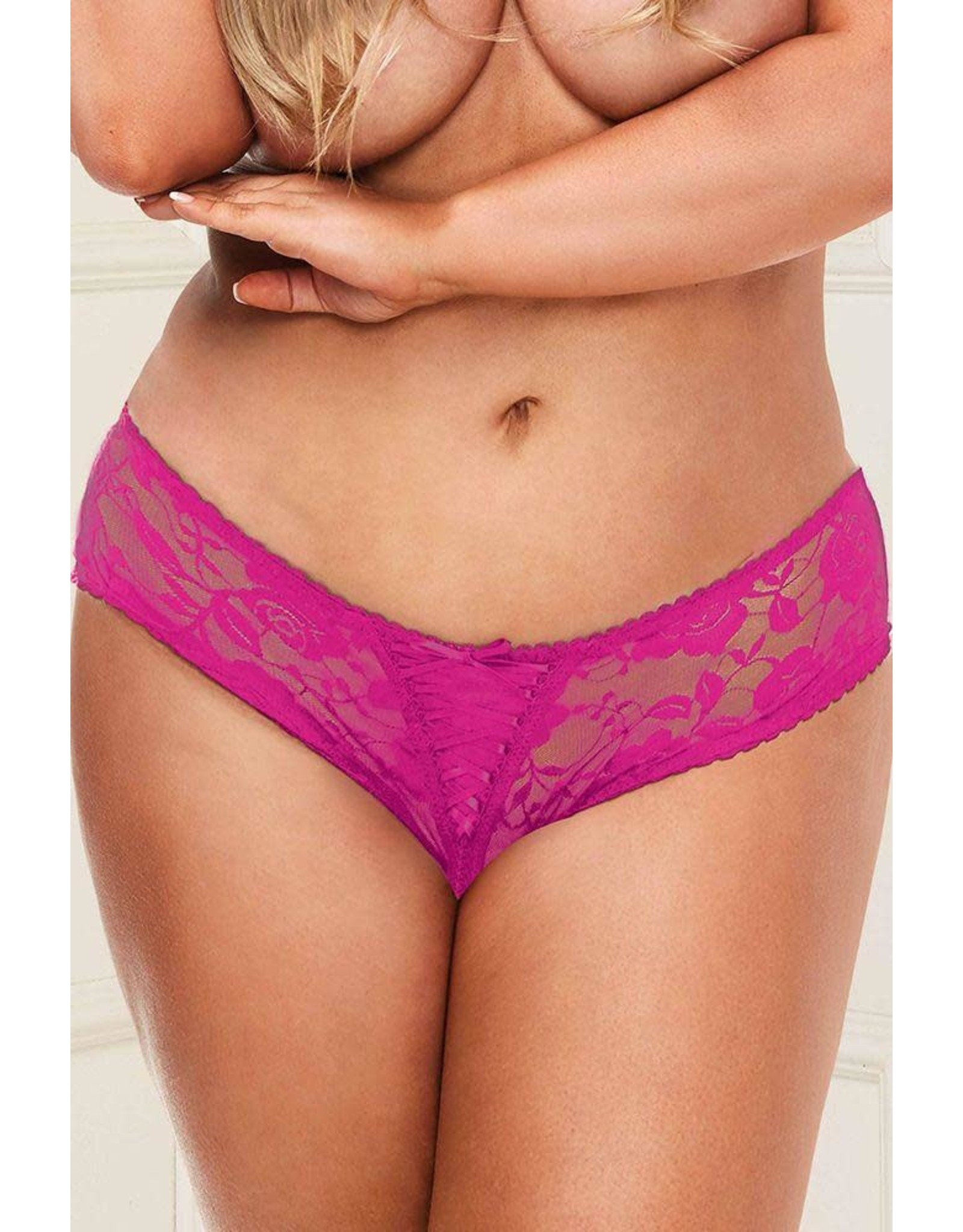 BACI - BEST-LACE SCENARIO CROTCHLESS - HOT PINK - 3X/4X