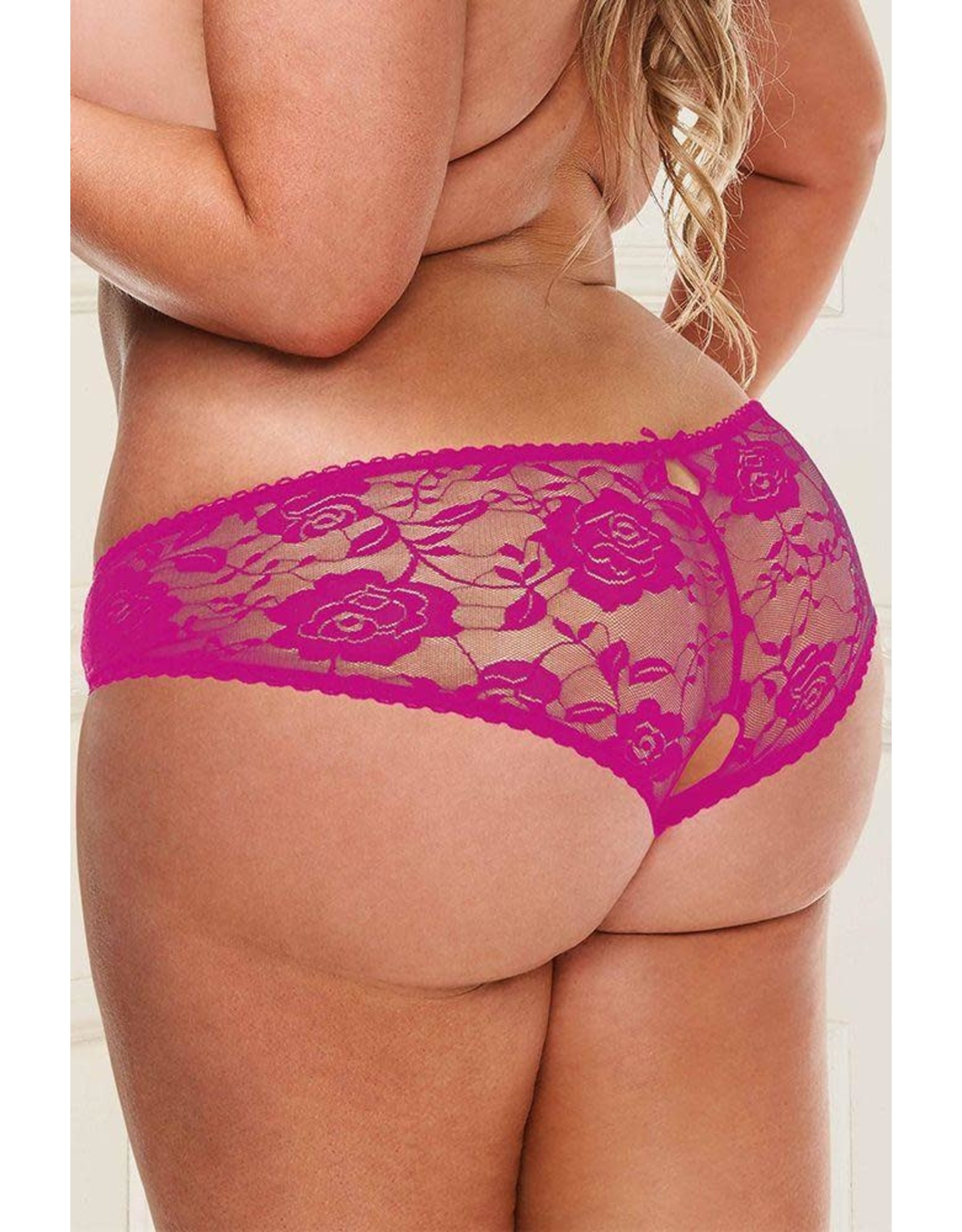 BACI - BEST-LACE SCENARIO OPEN CROTCH HOT PINK PANTY 1X/2X