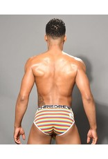 ANDREW CHRISTIAN ANDREW CHRISTIAN - PRIDE RAINBOW STRIPE LOVE BRIEF W/ ALMOST NAKED - SMALL
