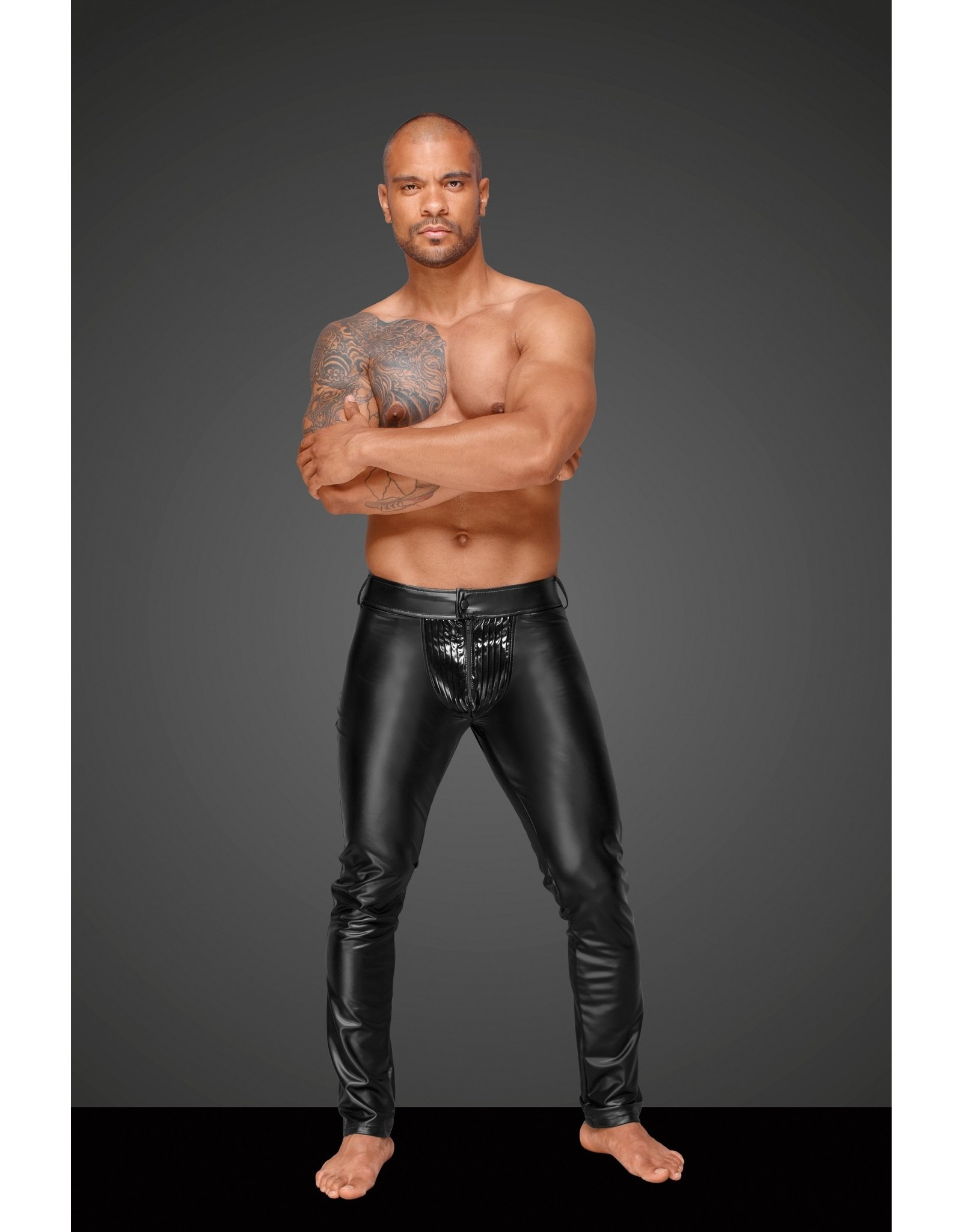 NOIR HANDMADE - POWER WET LOOK MEN'S TROUSERS WITH WITH PVC - XL