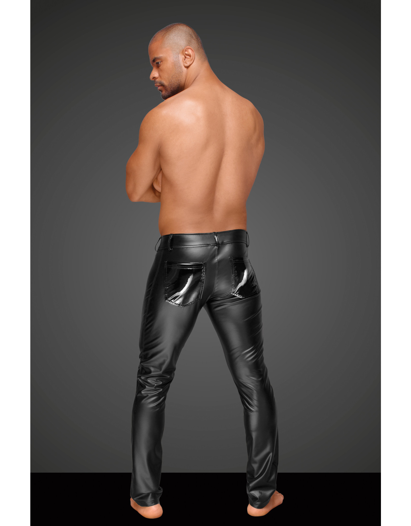 NOIR HANDMADE - POWER WET LOOK MEN'S TROUSERS WITH WITH PVC - LARGE