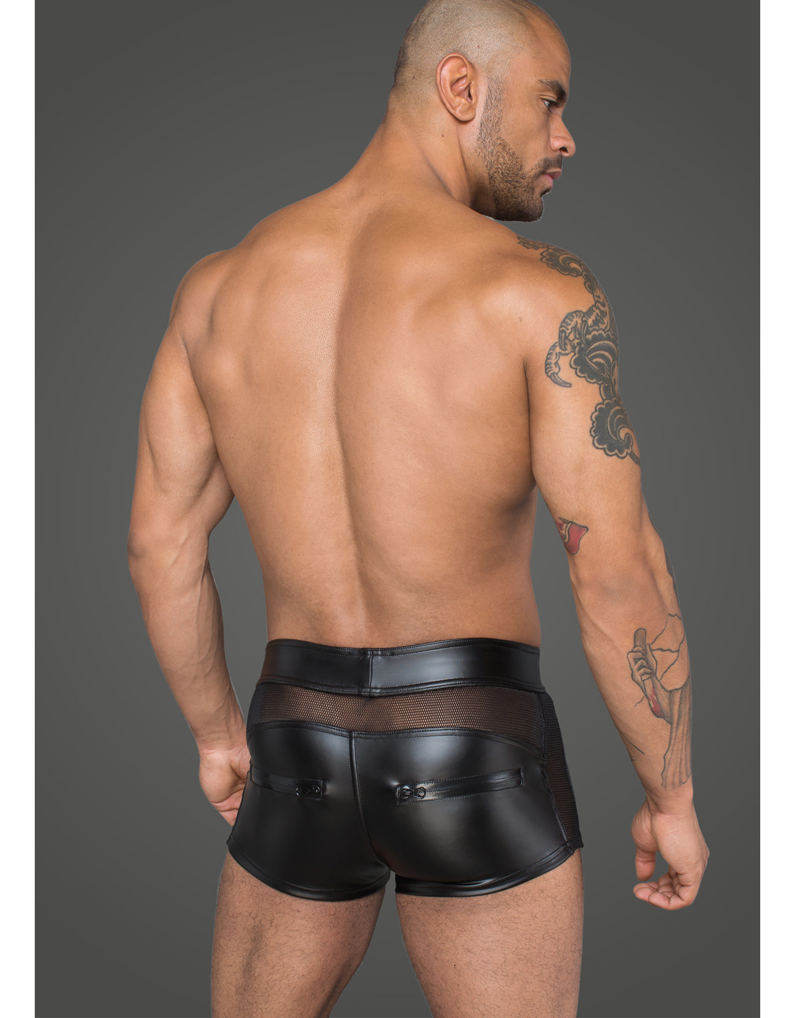 NOIR HANDMADE - MEN'S WET LOOK SHORTS AND 3D NET - SMALL