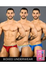 ANDREW CHRISTIAN ANDREW CHRISTIAN - BOY BRIEF UNICORN 3-PACK - RED/BLUE/HEATHER - SMALL