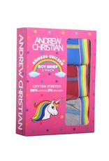 ANDREW CHRISTIAN - BOY BRIEF UNICORN 3-PACK - RED/BLUE/HEATHER - SMALL