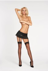 7 HEAVEN - SATIN GARTER BELT WITH RUFFLES, BOWS, GARTER STRAPS & STOCKINGS INCLUDED - LARGE