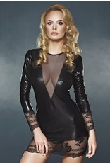 7 HEAVEN - ELEGANT LONG SLEEVE WET LOOK DRESS WITH LACE AND TULLE DETAILS - SMALL