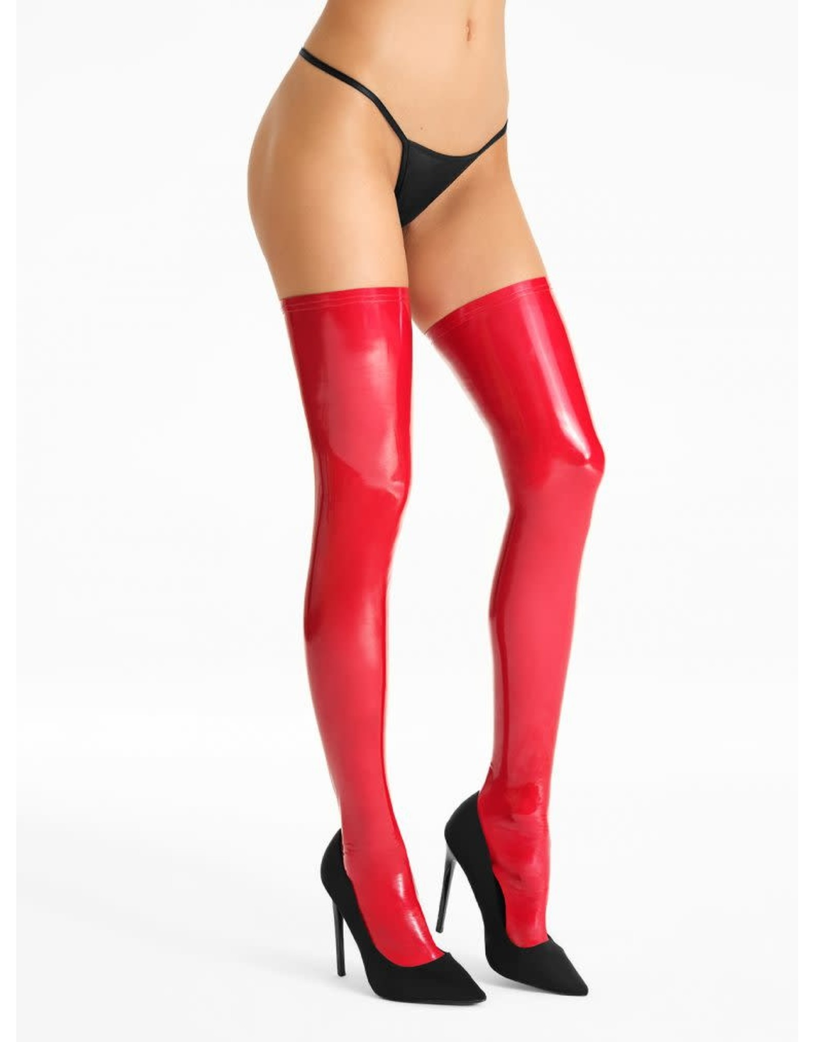 7 HEAVEN - ELASTIC VINYL (PVC) STOCKINGS WITH A MIRROR GLOSS STRIKING EFFECT - SMALL/MEDIUM