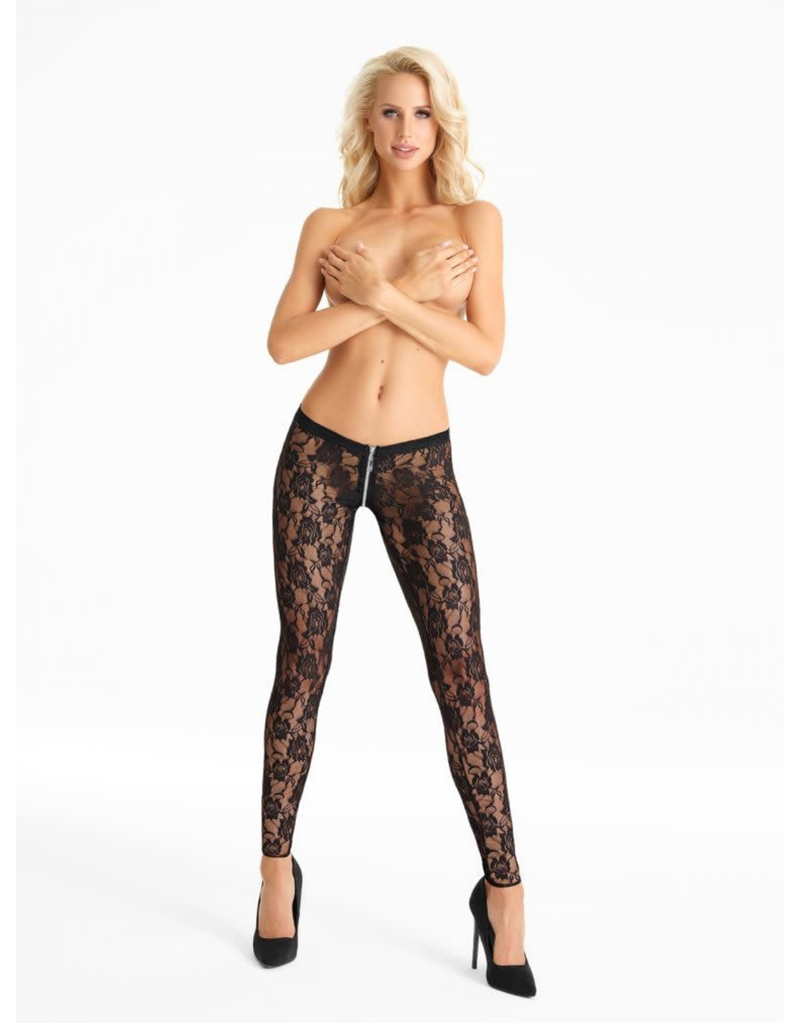 7 HEAVEN - SUPER SEXY LACE LEGGINGS WITH ZIPPER ACROSS THE CROTCH - SMALL