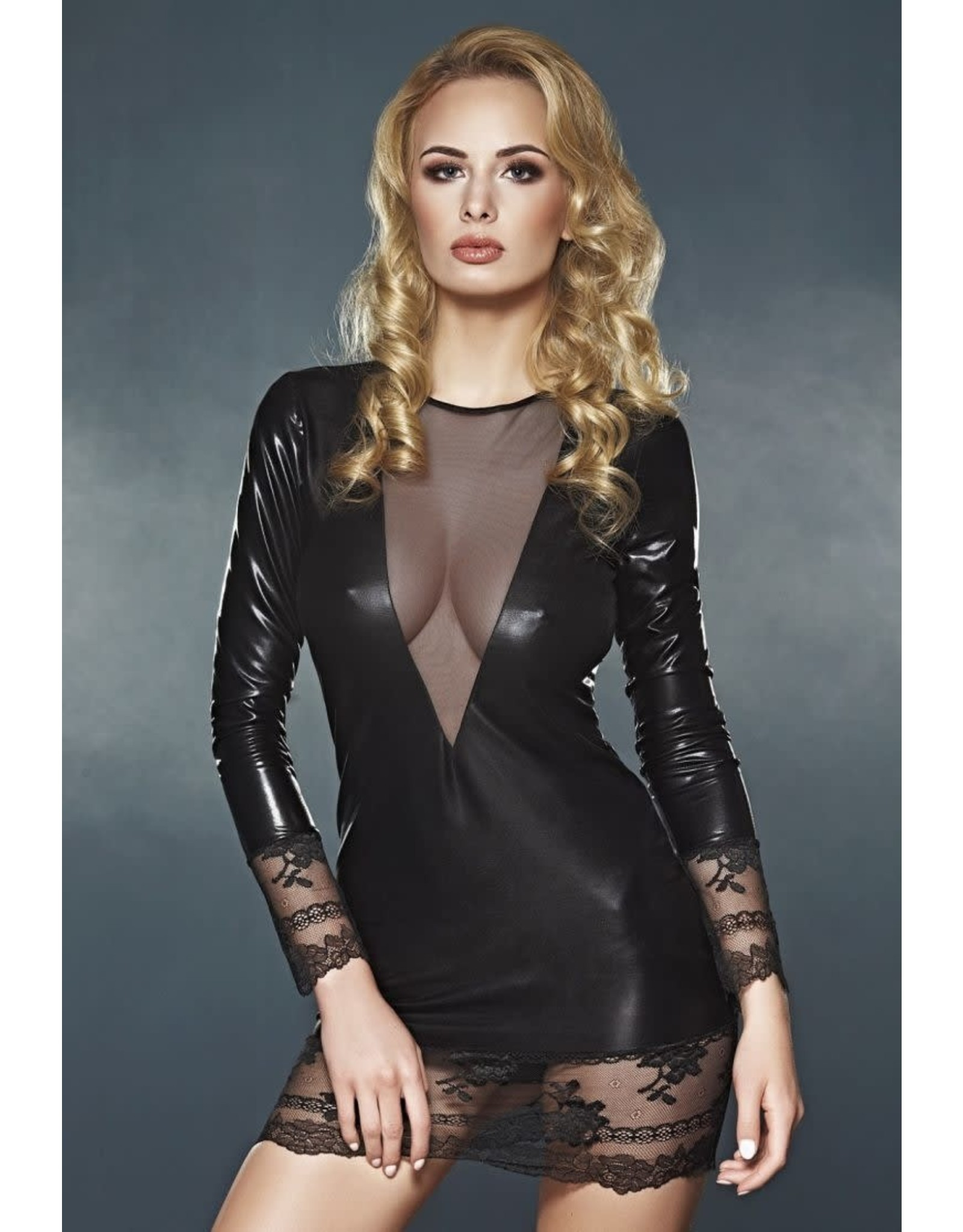 7 HEAVEN - ELEGANT LONG SLEEVE WET LOOK DRESS WITH LACE AND TULLE DETAILS - X-LARGE