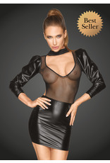 NOIR HANDMADE - POWER WET LOOK DRESS WITH TULLE AND PUFF SLEEVES - XXL