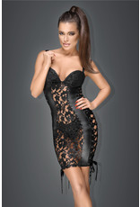 NOIR HANDMADE - LACE AND WET LOOK MINI DRESS WITH RIBBON - XL