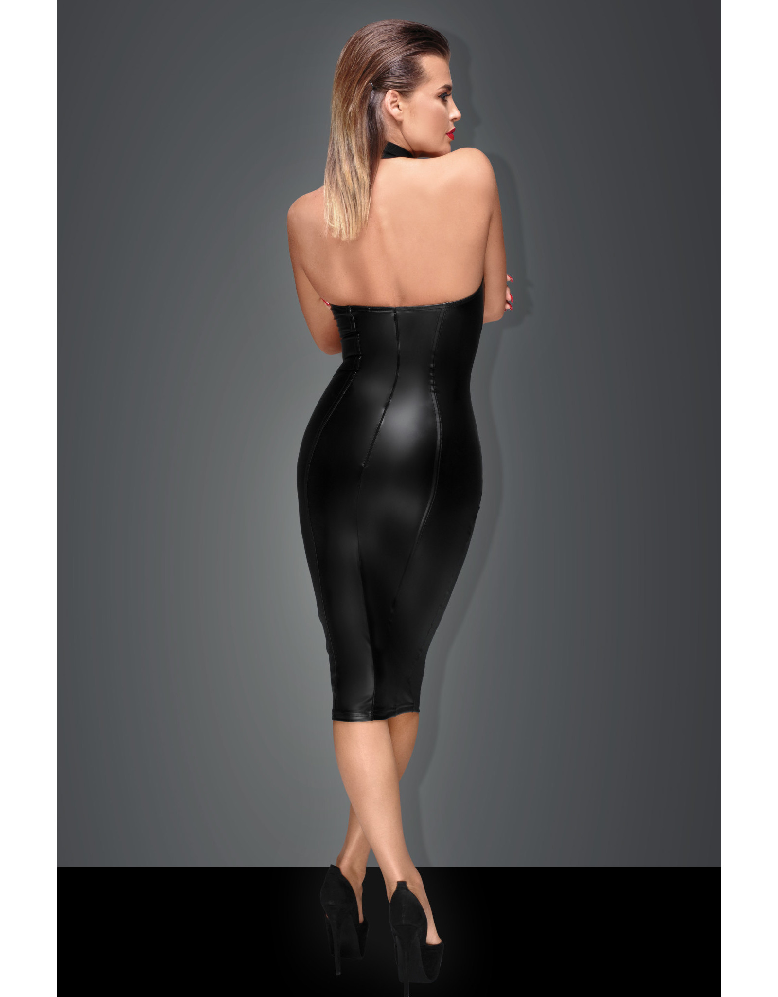 NOIR HANDMADE - POWER WET LOOK PENCIL DRESS - LARGE