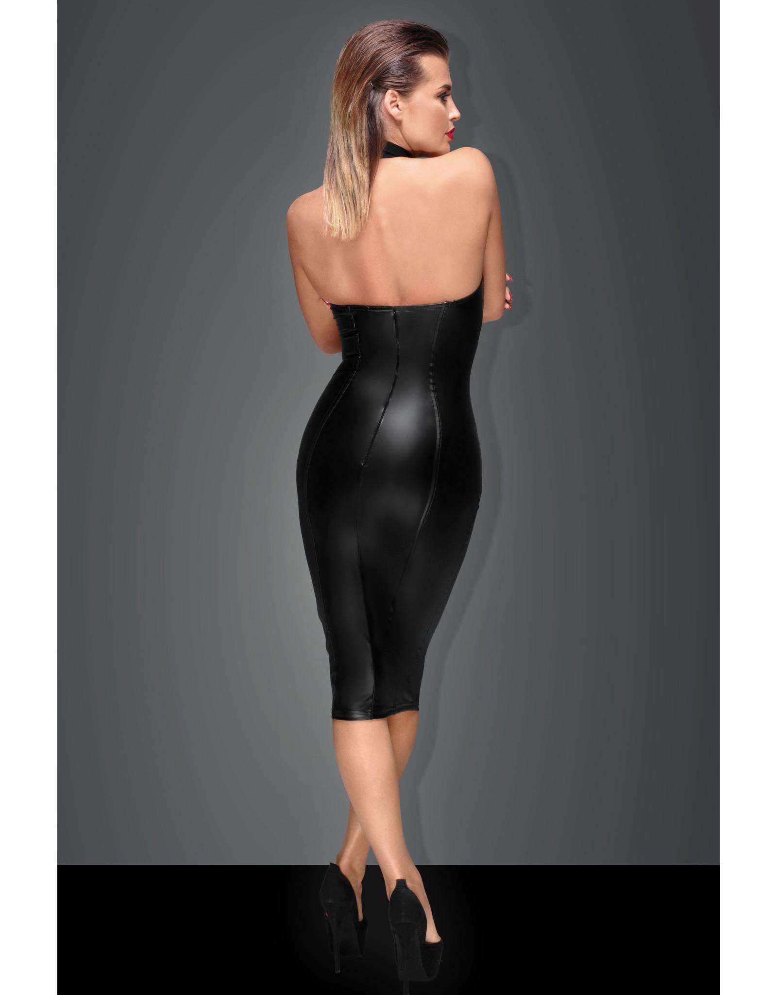 NOIR HANDMADE - POWER WET LOOK PENCIL DRESS - MEDIUM