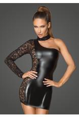 NOIR HANDMADE - ASYMMETRICAL POWER WET LOOK DRESS WITH LACE - XL