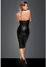 NOIR HANDMADE - POWER WET LOOK PENCIL DRESS - SMALL