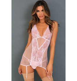RENE ROFE LINGERIE RENE ROFE - DECONSTRUCT ME CHEMISE SET - MEDIUM/LARGE - WHITE