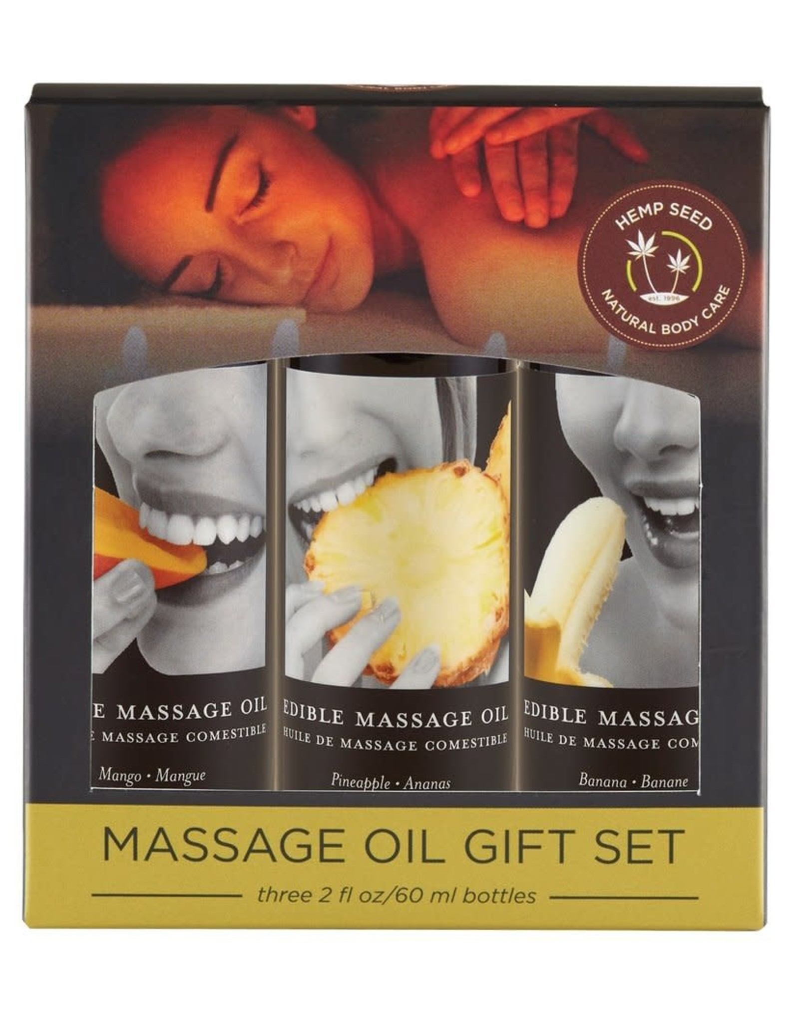 EARTHLY BODIES - EDIBLE MASSAGE OIL GIFT v2 SET 3x2oz