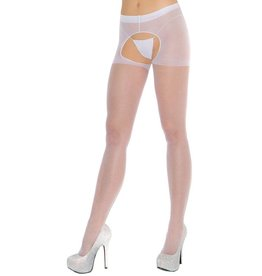 ELEGANT MOMENTS ELEGANT MOMENTS - SHEER WHITE CROTCHLESS PANTYHOSE - QUEEN SIZE