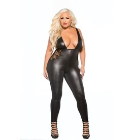 ALLURE LINGERIE ALLURE - LACE & WET LOOK CATSUIT - QUEEN SIZE