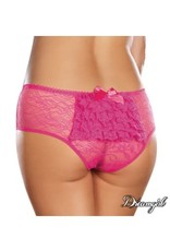 DREAMGIRL LINGERIE DREAMGIRL - LACE RUFFLE CROTCHLESS - PINK - LARGE