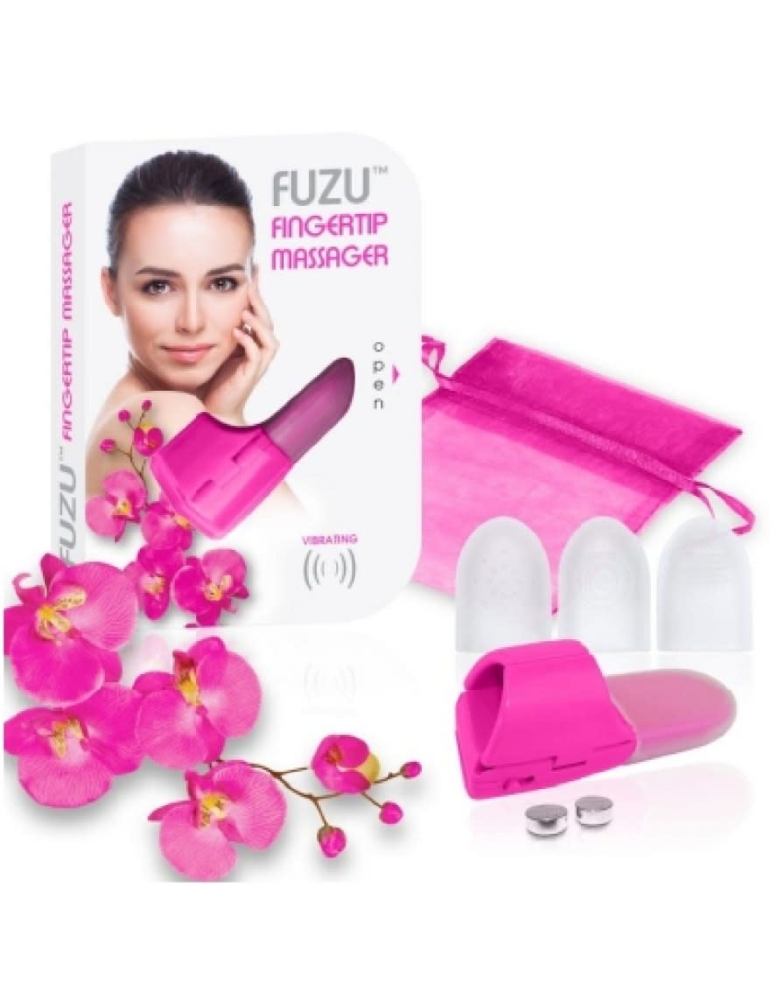 FUZU - VIBRATING FINGERTIP MASSAGER - NEON PINK