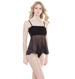 COQUETTE - RUFFLED BABYDOLL - BLACK ONE SIZE