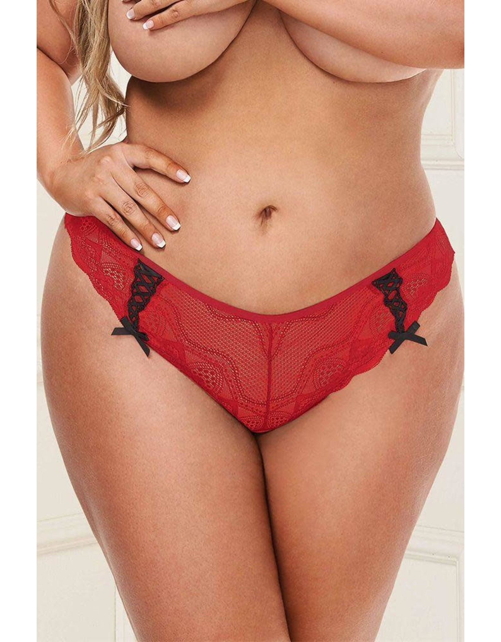 BACI - RIBBON ON THE WIND LACE BOYSHORT - RED - QUEEN SIZE