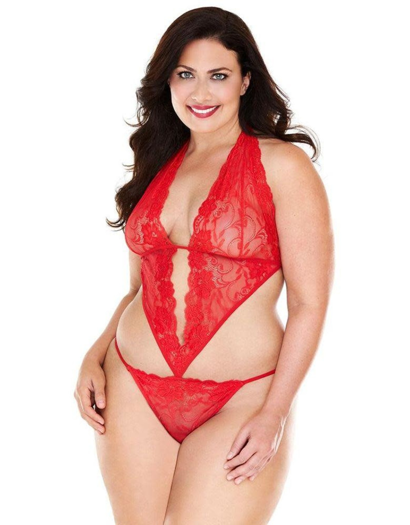 REMOTE VIBRATING RED LACE AND MESH TEDDY OSXL