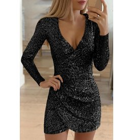 BLACK SURPLICE WRAP RUCHED SEQUIN BODYCON DRESS LARGE