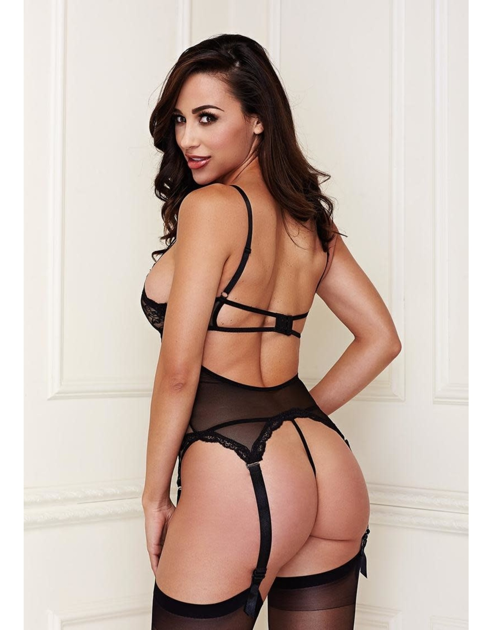 BACI LACE BUSTIER & G-STRING SET - S/M BLACK
