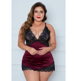 RED LACE CUPS SILKY SATIN PLUS SIZE CHEMISE 1X