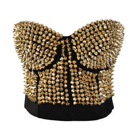 STEAMPUNK STUDDED BUSTIER BRA GOLD SMALL