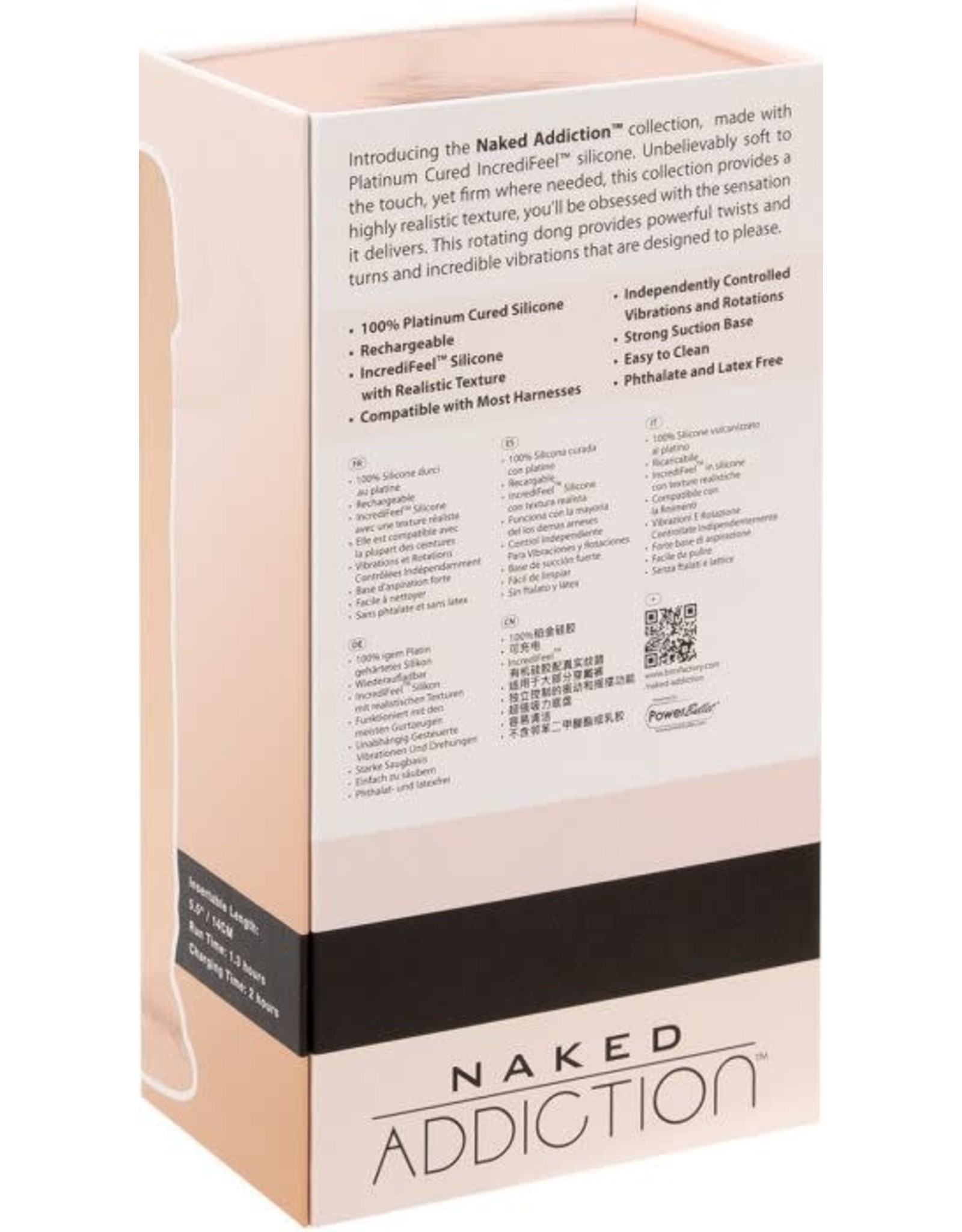 "ADDICTION NAKED ADDICTION - 8"" ROTATING & VIBRATING DONG"