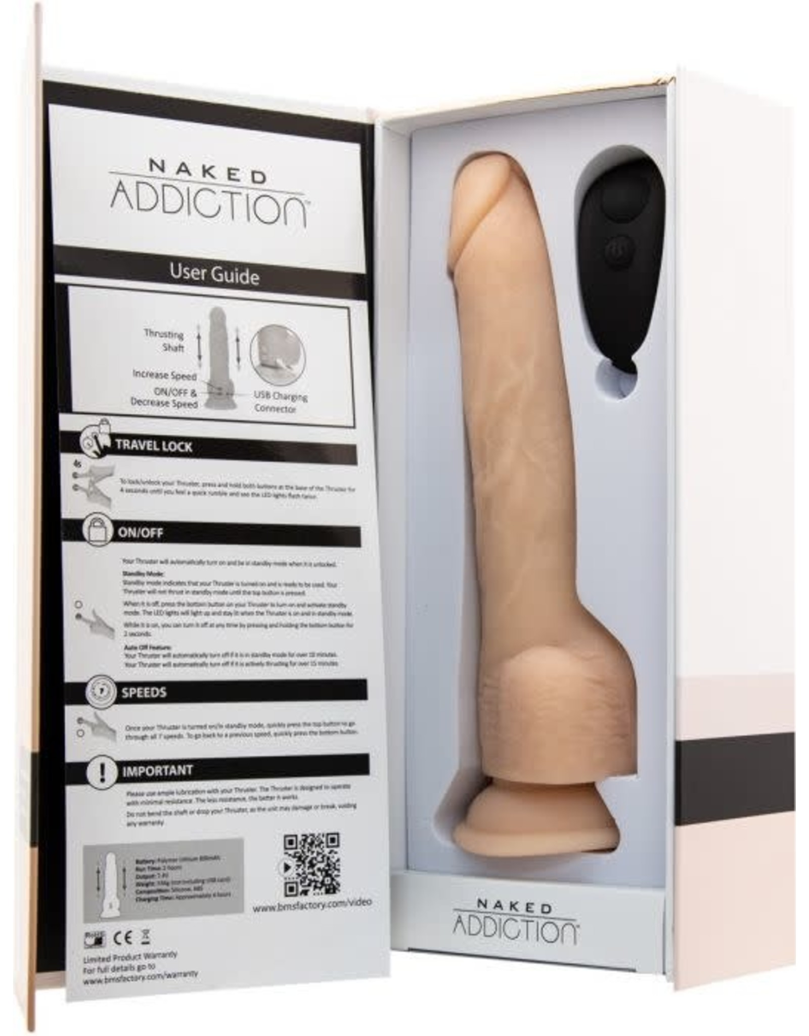 """NAKED ADDICTION - 9"""" THRUSTING DONG WITH REMOTE"""