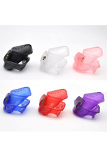 3D PLASTIC COCK CAGE, LOCKABLE MALE CHASTITY DEVICE WITH LOCKS AND 3 RINGS - RED