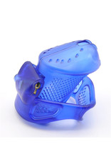 3D PLASTIC COCK CAGE, LOCKABLE MALE CHASTITY DEVICE WITH LOCKS AND 3 RINGS - BLUE