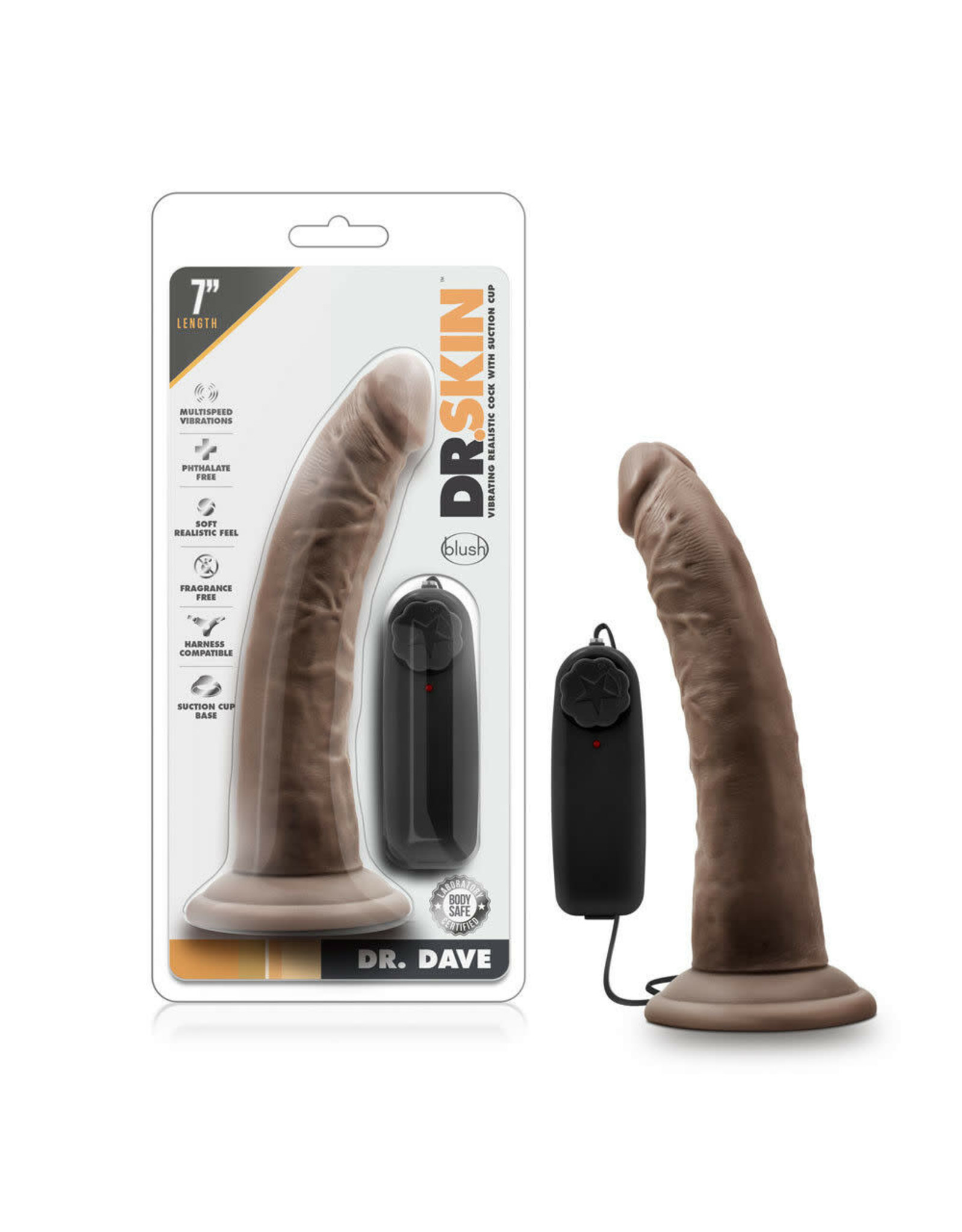 """DR. SKIN BLUSH - DR. SKIN - DR. DAVE - 7"""" VIBRATING COCK WITH SUCTION CUP - CHOCOLATE"""