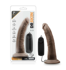 """BLUSH - DR. SKIN - DR. DAVE - 7"""" VIBRATING COCK WITH SUCTION CUP - CHOCOLATE"""