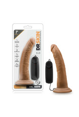 """BLUSH - DR. SKIN - DR. DAVE - 7"""" VIBRATING COCK WITH SUCTION CUP - MOCHA"""