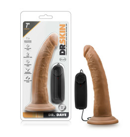 "BLUSH - DR. SKIN - DR. DAVE - 7"" VIBRATING COCK WITH SUCTION CUP - MOCHA"
