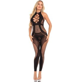 PINK LIPSTICK - ON RAILS FOOTLESS BODYSTOCKING - BLACK - SMALL/MEDIUM