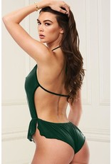SEXY FOREST GREEN SATIN DEEP-V TEDDY - S/M