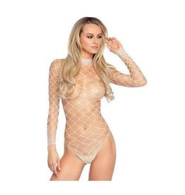 LEG AVENUE - WHITE FENCE NET BODYSUIT TEDDY - ONE SIZE