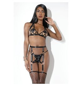 COQUETTE COQUETTE - HARNESS BRA AND GARTER BELT - ONE SIZE