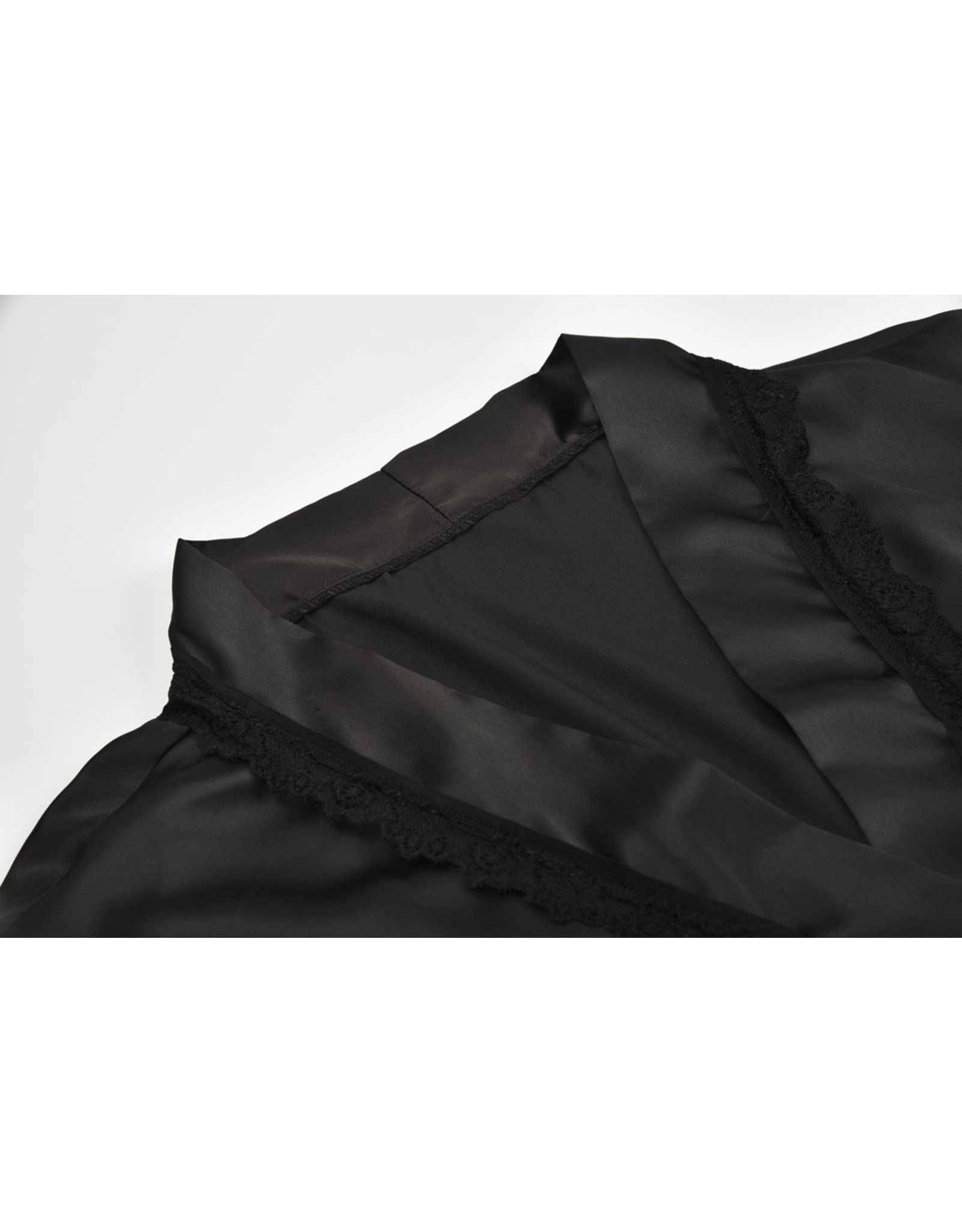 CLASSIC SATIN ROBE BLACK SMALL