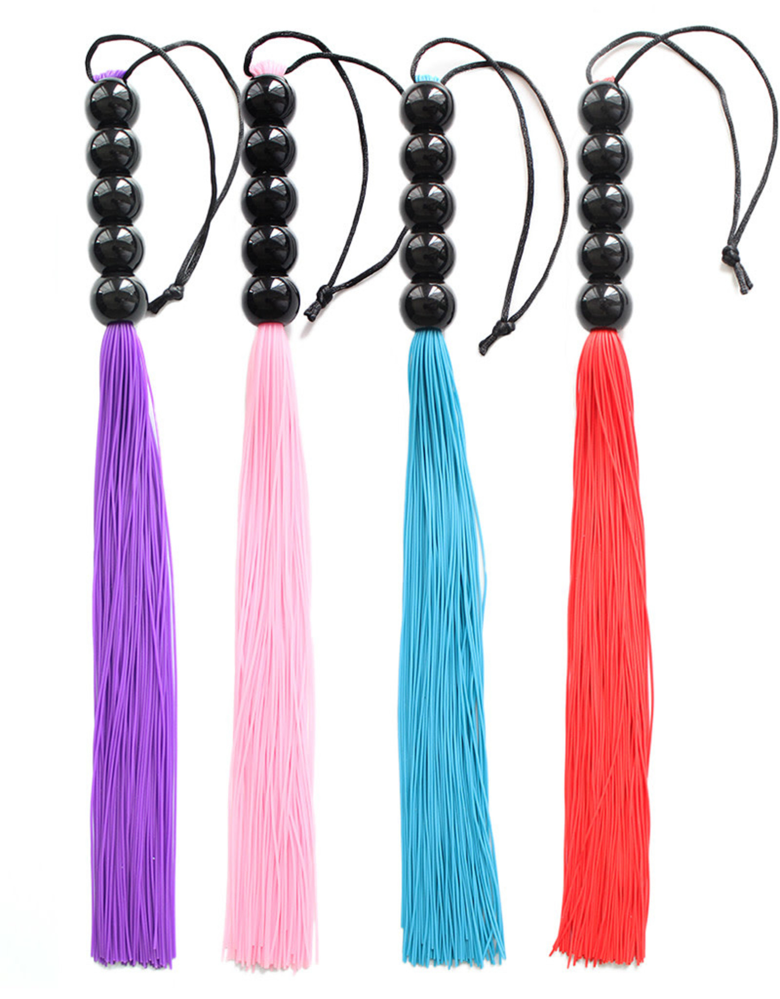 SILICONE WHIP WITH BEAD HANDLE - PURPLE