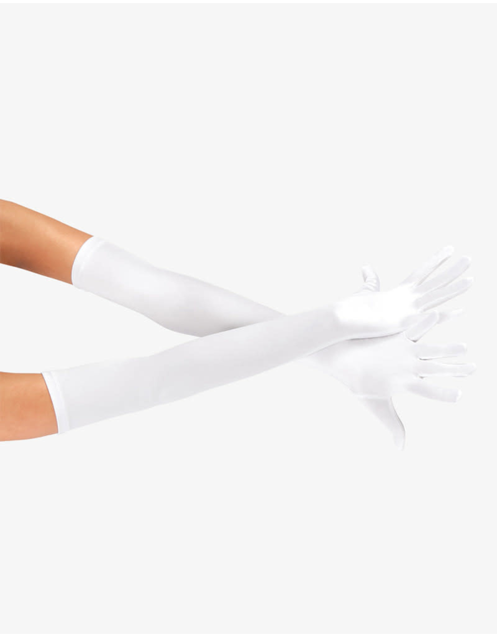 SATIN LONG GLOVE - WHITE
