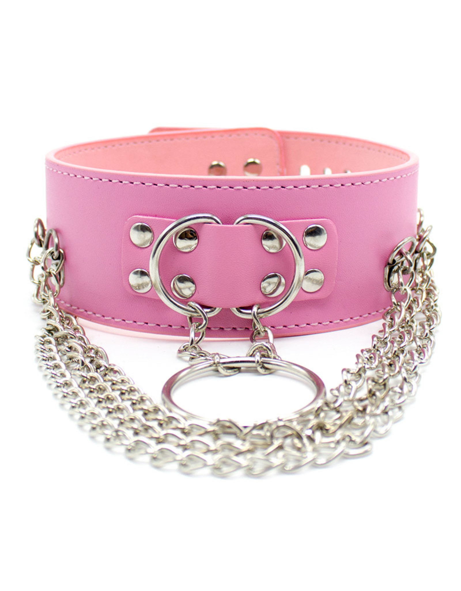 PU LEATHER PUNK CHOKER COLLAR - PINK